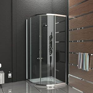 Duschkabine duschabtrennung mit rahmen viertelkreis dusche 80x80 x190 cm schiebet r aus - Duschwand 80x80 ...