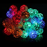 Innoo Tech Globe Patio String Lights Outdoor Indoor 40 LED Rattan Balls RGB Fairy Lights for Party