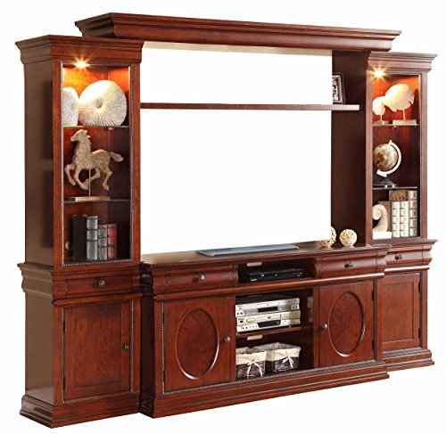 HOMELEGANCE 8003*4 4 Piece Entertainment Center, Cherry Finish