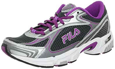 Fila Women's DLS Tenacity Running Shoe,Castlerock/Metallic Silver/Striking Purple,9 M US
