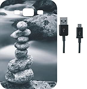BKDT Marketing Beautifully Printed Back Cover for Samsung Galaxy E5 With Charging Cable