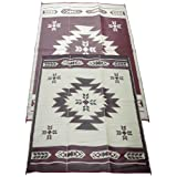 Fireside Patio Mats Navajo Breeze Burgundy And Beige 9 ft. x 12 ft. Polypropylene Indoor/Outdoor Reversible Patio/RV Mat