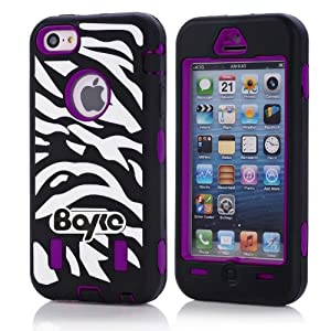 Apple Iphone 5c Fashion Camo Zebra Combo Print & Aztec Tribal Print Hybrid Armorbox Defender Case Protection Impact Bumper Dual Layer Heavy Duty Case Pc&rubber Silicone Material with Hard Holster (Not Fit Iphone 5 & 5s / Bayke Brand / Screen Protector Not Include) (Purple) (Zebra Combo Print / Bayke Brand)