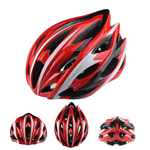 Ezyoutdoor 24 Holes Ultralight Integrally Molded EPS Bicycle Helmet Specialized for Road Mountain Bicycle with Removable Antibacterial Pads for Adult (#4(red/white/black)) (Cycling Jersey Black Venom compare prices)