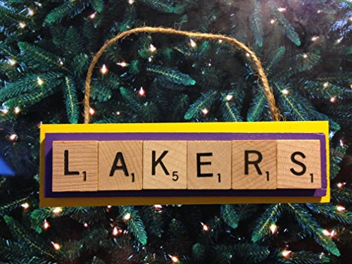 Los Angeles Lakers Scrabble Tiles Ornament Handmade Holiday Christmas Wood