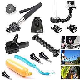 EEEKit 7 in 1 Starter Kit for GoPro HERO4 Session/HERO LCD/HERO 4/3 Plus,Floating Grip/Selfie Stick/Clamp Mount/Gooseneck/Mount Adapter/Screw/Buckle