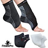 Foot Sleeve, Plantar Fasciitis Silicone Gel Heel Protectors & Arch Support Therapy Wrap For Men & Women - #1 Ultra Comfortable 6 Piece Compression Bundle Kit For Accelerated Recovery, Reduced Muscle Fatigue & Improved Blood Circulation