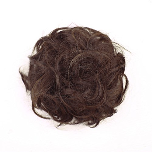 SWACC Girls Updo Messy Dish Hair Bun Synthetic Clip On Chignon Hairpiece Drawstring Ponytail Bun Hair Extensions (Natural Black/Dark Auburn Mixed-2/33#) (Clip On Hair Bun compare prices)