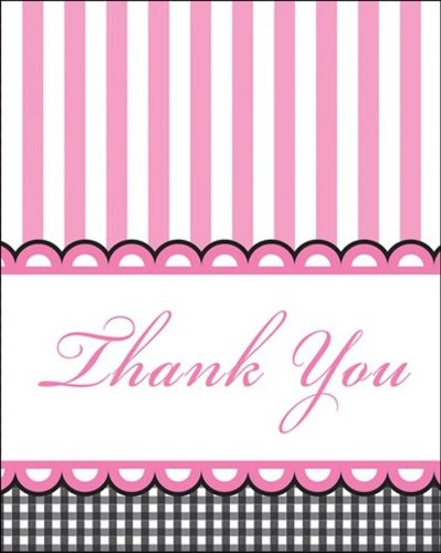 Creative Converting Sweet Baby Feet Pink Thank You Notes, 8-Count - 1