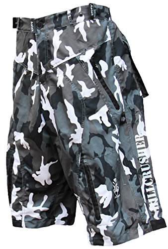 New Astek Men's White Camo MTB BMX Baggy Padded Mountain Bike Shorts