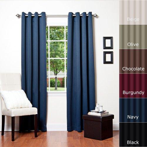 Best Home Fashion - Tenda termica isolante oscurante con occhielli, di prima qualità, lunghezza 229 cm, confezione da 2 pannelli blu navy