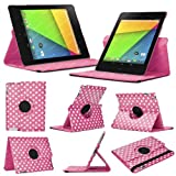 Stuff4 MR-NX7-2-L360-PD-DPW-STY-SP Polka Dot Designed Leather Smart Case with 360 Degree Rotating Swivel Action and Free Screen Protector/Stylus Touch Pen for 7 inch Google Nexus 7 - Deep Pink/White