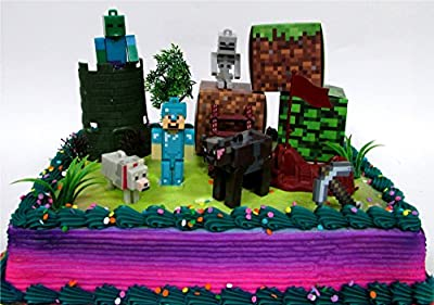"MINECRAFT 14 Piece Birthday CAKE Topper Set Featuring Random Minecraft Figures and Decorative Themed Accessories, Figures Average 1"" to 3"" Inches Tall from Cake Topper"