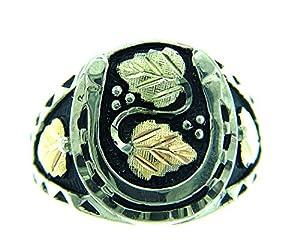 Gorgeous! Antiqued Black Hills Gold Men's Horseshoe Ring