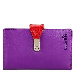 Butterflies Womens Wallet (Purple) (BNS 2146)