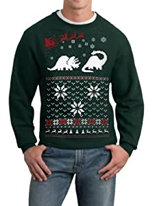 Skip N' Whistle Men's Ugly Christmas Sweater Santa Dinosaur Pullover Sweatshirt