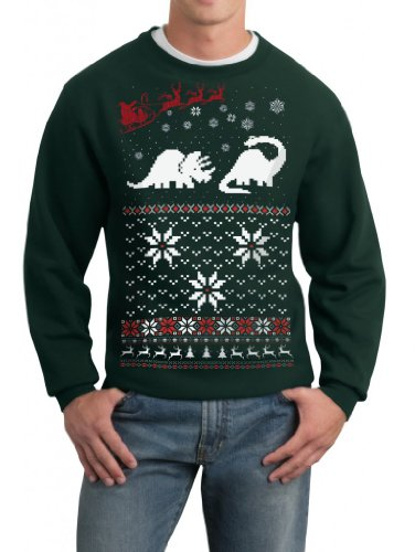 Skip N' Whistle Adult Ugly Christmas Sweater Santa Dinosaur Pullover Sweatshirt Medium Forest Green Reviews