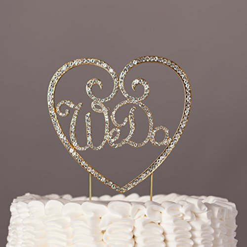 We Do Heart Wedding Cake Topper Gold Rhinestone Monogram Decoration (Gold)