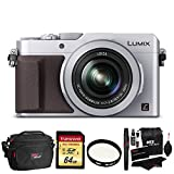 Panasonic LUMIX LX100 16.8 MP Four Thirds CMOS sensor Point and Shoot Camera with Integrated Leica DC Lens (Silver) + Transcend 64GB SDXC U3 + Deluxe Bag + Polaroid 43mm UV Filter + Cleaning Kit