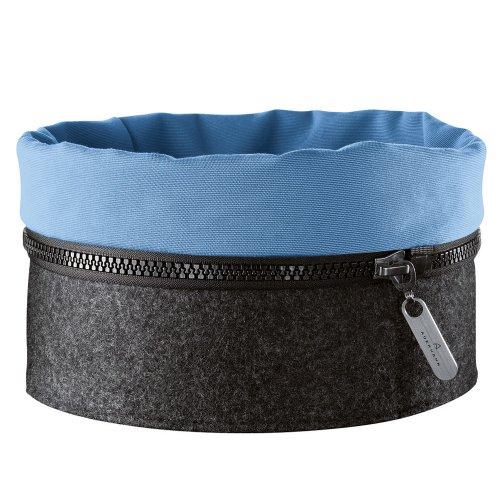 Auerhahn Zipp Cestino da Pane in Feltro Blu/Grigio, Parte Inferiore 5 mm in Feltro, Parte Superiore in Cotone, Diametro 22,5 cm, 2430102132