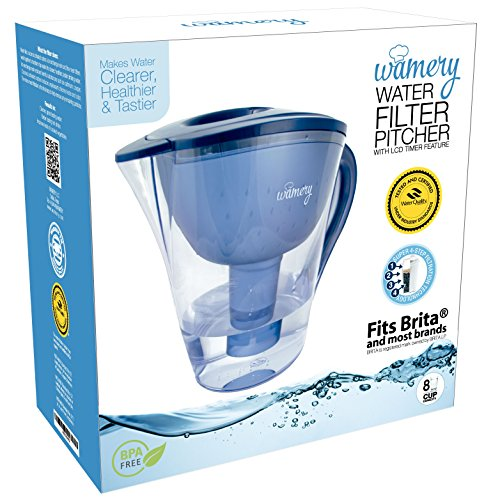 Water Filter Pitcher 8 Cups with LED indicator. Removes Tap Water Artificial Chemicals. Certified Jug WQA NSF 42, 53 and 372. Ionizer Makes Faucet Water Fresh, Clean, Healthy & Tasty. One Filter free. (Water Filer Jug compare prices)