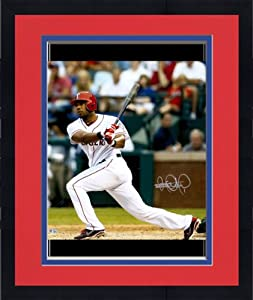 Framed Elvis Andrus Texas Rangers Autographed 16x20 Catcher Watch Photograph -...