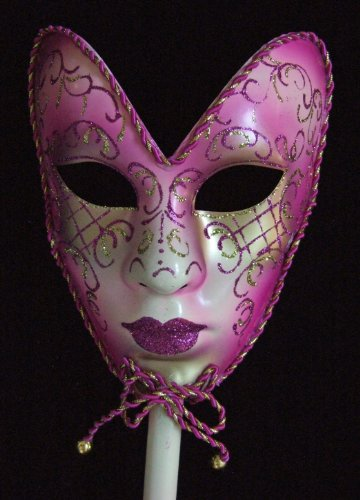 Fancy Venetian Full Mask Pink Mardi Gras Halloween Masquerade Costume Prom Party