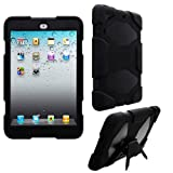 CellBig Introduces Warrior Black Tough And Defender Hard Hybrid Shockprotection Case Cover Pouch Shell Holster Included high quality Silicone protective layer With Screen Protection For Your Apple iPad Mini / 2 / Wi-fi