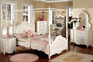 Inland Empire Furniture Victoria Pearl White Solid Wood Canopy Twin Bed Set