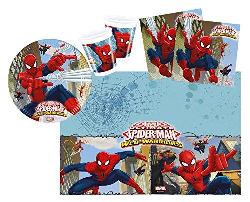 Procos 10108558B - Set di accessori per feste dei bambini, motivo Ultimate Spiderman - Web Warriors, misura S, 37 pz