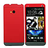 Heartly Double Dip Flip Hard Shell Premium Bumper Back Case Cover For HTC One 802D 802T 802W - Red Red Grey