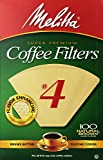 Melitta Cone Coffee Filters, Natural Brown, No. 4, 100-Count Filters (Pack of 12)