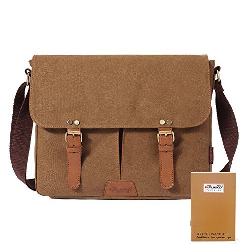 KAUKKO Classic Messenger Bag Canvas Leather Satchel Briefcase for Laptop up to 13-inch Khaki (Classic Leather Briefcase compare prices)