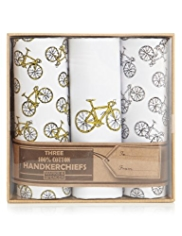 3 Pack Pure Cotton Bicycle Print Handkerchiefs