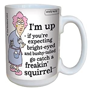 Tree-Free Greetings lm43759 Hilarious Aunty Acid Freakin Squirrel by The Backland Studio Ceramic Mug, 15-Ounce by Tree Free