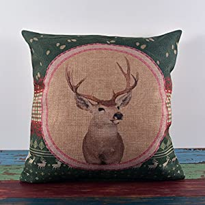 Shabby Chic Deer Pillow : Amazon.com: LINKWELL 45x45cm Shabby Chic Look Merry Christmas Collection Deer Christmas Tree ...
