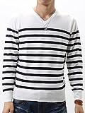 (アーケード) ARCADE 無地・ボーダー Vネック セーター メンズ 長袖 カシミアタッチ セーター Vネック ニット XL ホワイト×ネイビー