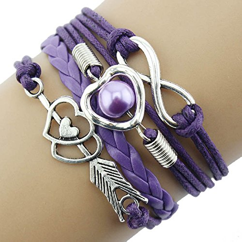 Sannysis DIY Love Heart Pearl Friendship Antique Leather Charm Bracelet (Purple)