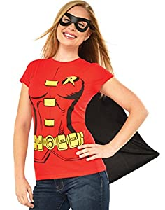 DC Comics Women's Robin T-Shirt With Cape And Eye Mask at Gotham City Store