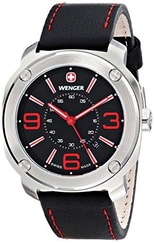 wenger 011051103 - Reloj de pulsera hombre, piel, color negro