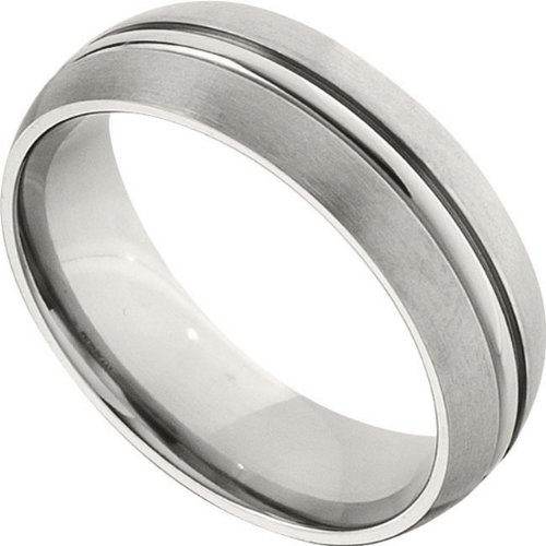7.0mm Titanium Domed Grooved Band Size 9