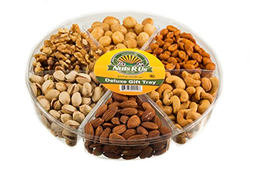 Gourmet Freshly Roasted 6 Section Medium Nut Tray ** Holiday Anniversary Birthday Nut Gift Basket ** Party Decorative Nut Platter