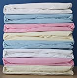 Dudu N Girlie Travel Cot Cotton Jersey Fitted Sheets 65 x 95 cm Pack of 2 Cream Pink