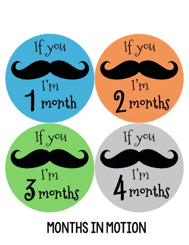 Months in Motion 140 Monthly Baby Stickers Milestone Age Photo Prop Boy Mustache