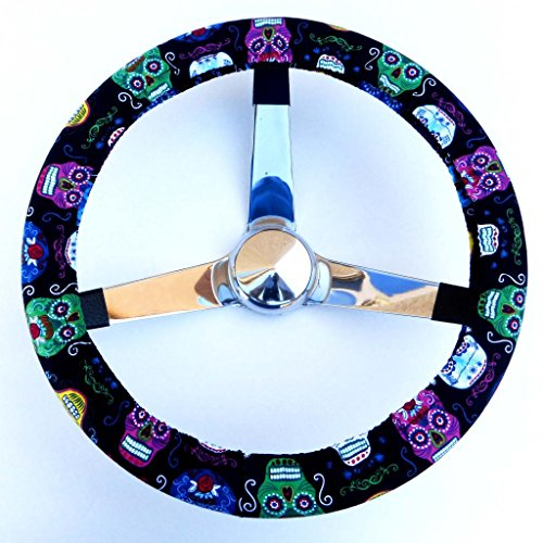 Mana Trading Handmade Steering Wheel Cover Fun Sugar Skulls (Steering Wheel Cover Sugar Skull compare prices)