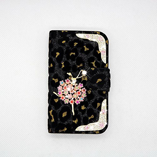 black Sexy Crystal Ballet girl Luxury Crystal Ballet girl Luxury Bling Crystal Diamond Leopard Wallet Purse PU Leather Magnetic Flip Wallet Case Cover For Samsung GALAXY S BLAZE 4G T769