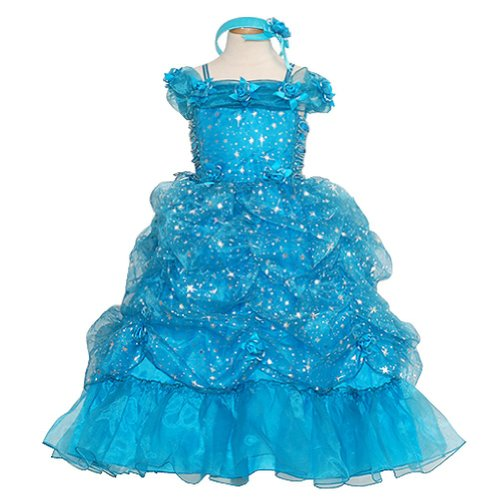 Rain Kids Toddler Girls 3T Turquoise Sparkling Stars Pageant Dress front-134419
