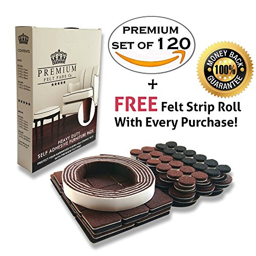 PREMIUM Felt Furniture Pads To Protect Hardwood Floors With FREE FELT STRIP ROLL 120 QUALITY Assortment Brown And Black Heavy Duty Self Adhesive Felt For Laminate And Tile Flooring. Mulitpurpose Use (Felt Pads To Protect Furniture compare prices)