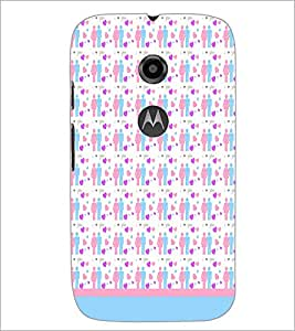 PrintDhaba Love Couple Pattern D-1597 Back Case Cover for MOTOROLA MOTO E2 (Multi-Coloured)