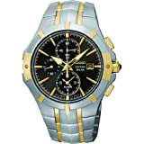 Seiko Men's Coutura, Stainless Steel, Gold Plate, Black Dial SSC198P9